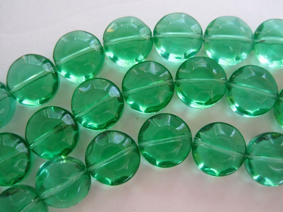 15 Grass Green Fluted Faceted Coin Shaped Lampwork Glass Beads 12mm LAST ONE