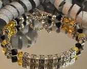 Team / School Personalized Swarovski Crystal and Sterling Silver Bracelet