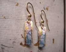 japanese paper origami paper washi paper chiyogami paper 14 karat gold earrings by cra1nes on etsy
