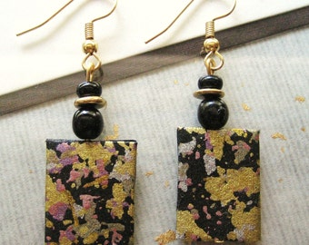 handmade japanese paper washi paper origami paper chiyogami paper drop earrings by cra1nes on etsy