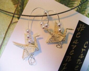 Japanese origami paper chiyogami wedding crane pendant by cra1nes on etsy