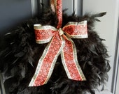 Black feather wreath- red damask ribbon