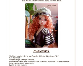 37. English and  French INSTANT DOWNLOAD PDF knitting Pattern for msd bjd Kaye Wiggs dolls 18""