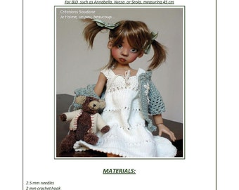 42. English and  French INSTANT DOWNLOAD PDF knitting Pattern bjd msd Kaye Wiggs dolls 18""