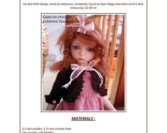 "24. English and  French INSTANT DOWNLOAD PDF knitting Pattern for 16 "" dolls bjd msd"