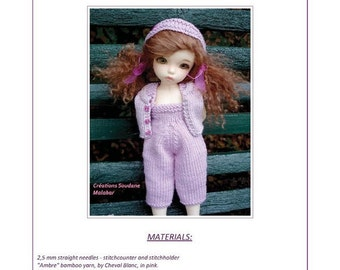 36. English and  French INSTANT DOWNLOAD PDF knitting Pattern yosd bjd artist dolls 10""
