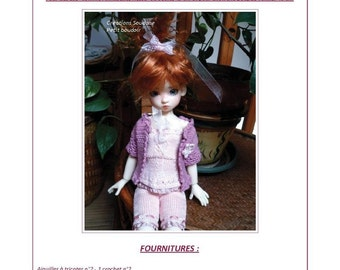 """50. English and  French INSTANT DOWNLOAD PDF knitting Pattern (Pants, bustier and jacket) for msd bjd Kaye Wiggs dolls 18"""""""