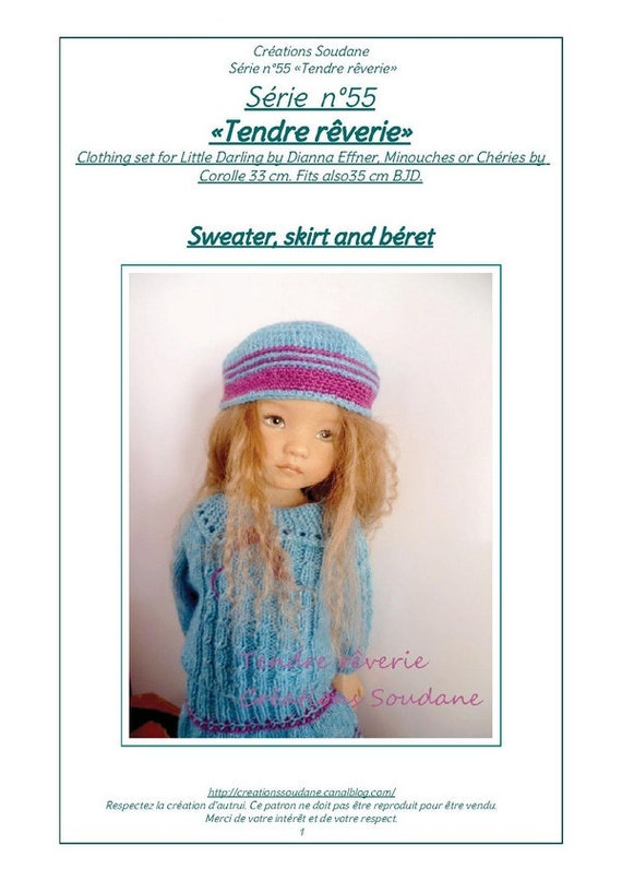 "55. English and  French INSTANT DOWNLOAD PDF knitting Pattern 13"" dolls Little Darling, Narsha, Zihu"