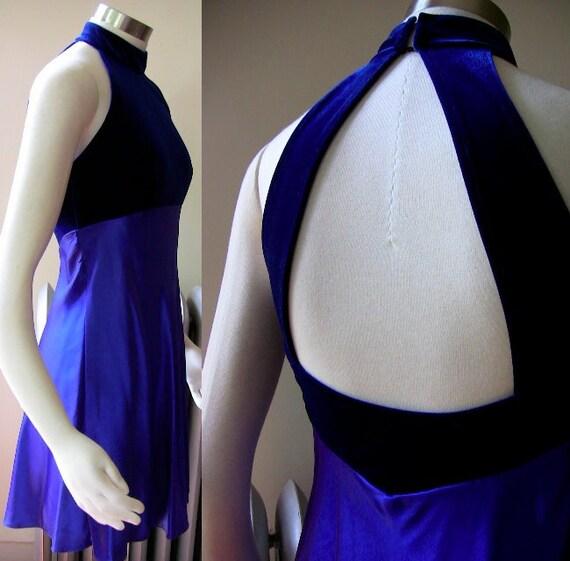 90's- Purple Velvet and Satin Halter NeckMini Dress - XS S