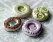 Teensy Quartet -- Variety Pack of 4 Glazed Buttons