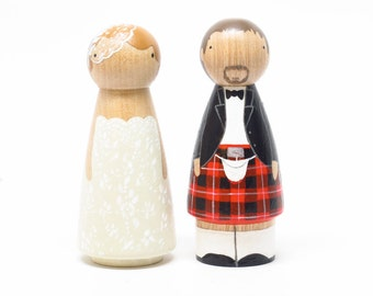 Scottish Wedding Cake toppers Scottish Wooden Peg Doll Goose Grease with Kilt- wooden dolls