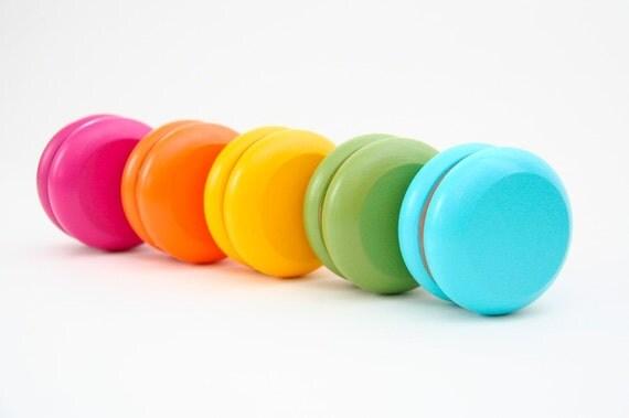 2 Hand-Painted Wooden Yo-Yos