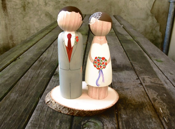 Large Fully Custom Wedding Cake Toppers - Wedding Table Centerpiece - Oversized Peg Dolls - Fair Trade