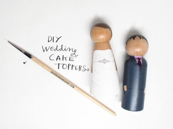 Do-It-Yourself Wedding Cake Topper Kit in a Bag // Fair Trade Wooden Cake Toppers Wedding Decor Bride Groom