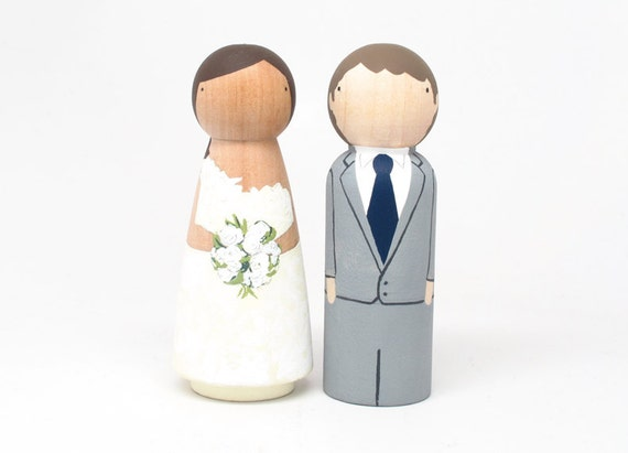 EXPRESS Shipping - Wedding Cake Cake Toppers Custom Peg Doll Wedding Cake toppers by Goose Grease - wooden dolls