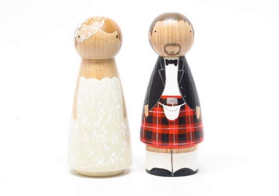 The Original - Custom Wedding Cake toppers Scottish Peg Doll Goose Grease with Kilt- wooden dolls
