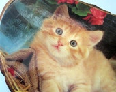 Here Kitty. Vintage wood log wall plaque.