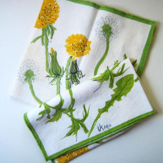 Vera napkins, 1970s dandelions on cotton.