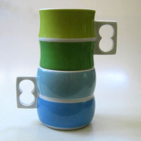 1970s Block Chromatics stacking cups, Germany.