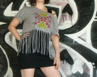 TRIBAL FRINGE printed T-shirt handmade ORIGINAL design size M