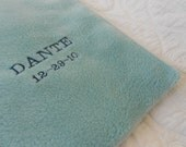 Embroidered Name & Date Baby Blue Fleece Blanket