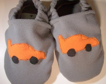 Custom Race Car  Fleece Slippers/Booties with Grip Soles (newborn-4 yrs/Polartec fleece)