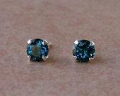 Genuine London Blue Topaz Stud Earrings in Sterling Silver, Cavalier Creations