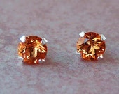 Madeira Citrine Stud Earrings, 6mm, Sterling Silver, Cavalier Creations