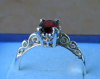 Romantic Garnet Filigree Sterling Silver Ring, Cavalier Creations