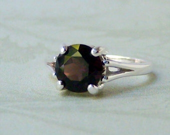 8mm Smoky Quartz Sterling Silver Ring, Cavalier Creations
