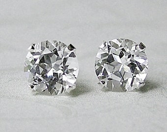 4ct White Topaz Sterling Silver Stud Earrings, Cavalier Creations