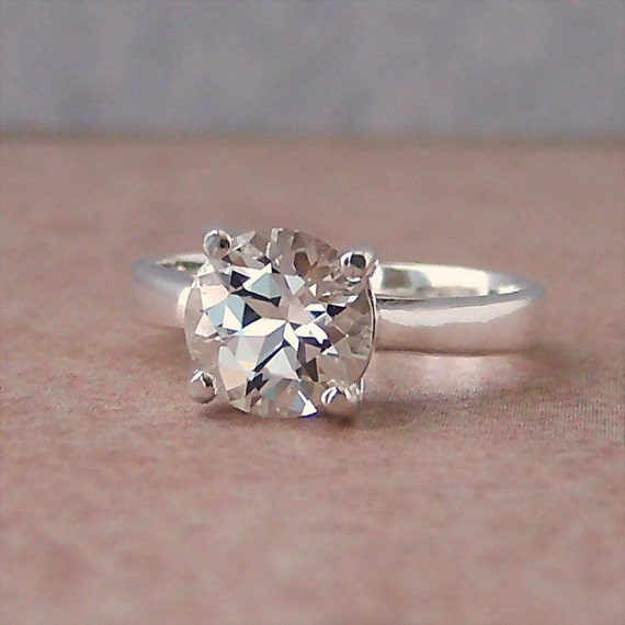 8mm White Topaz Sterling Silver Ring, Cavalier Creations