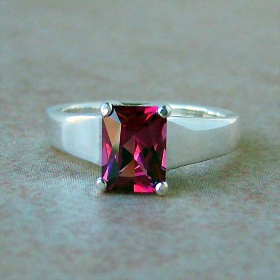 Raspberry Rhodolite Garnet Genuine raspberry rhodolite garnet ring, sterling silver, cavalier creations