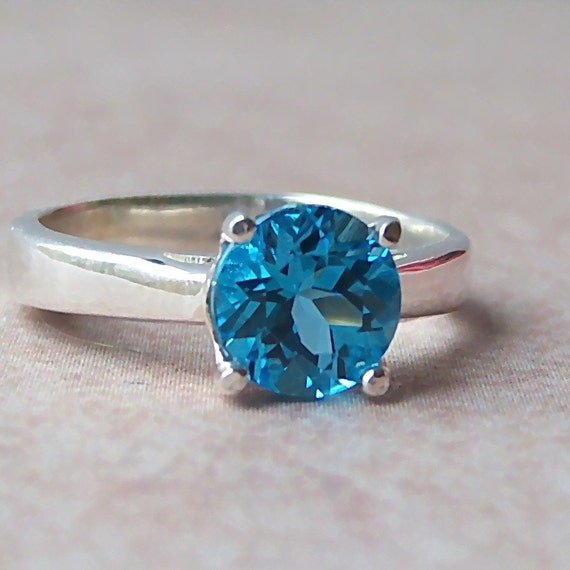Genuine Swiss Blue Topaz Sterling Silver Ring, Cavalier Creations