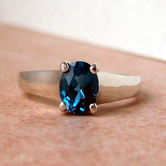 Genuine London Blue Topaz 2ct Oval Sterling Silver Ring, Cavalier Creations
