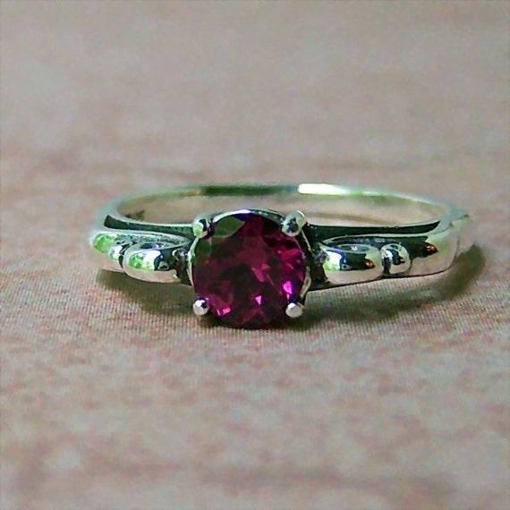 Raspberry Rhodolite Garnet Sterling Silver Filigree Ring, Cavalier Creations