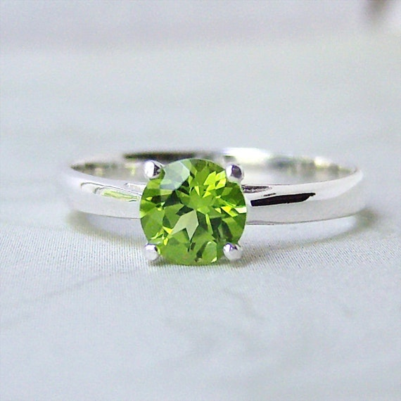 Genuine Peridot Sterling Silver Ring, Cavalier Creations