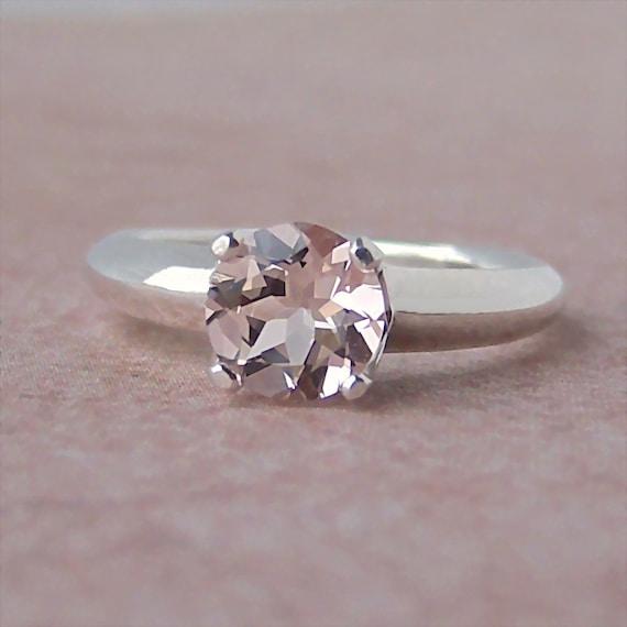 7mm Morganite Argentium Sterling Silver Ring, Cavalier Creations