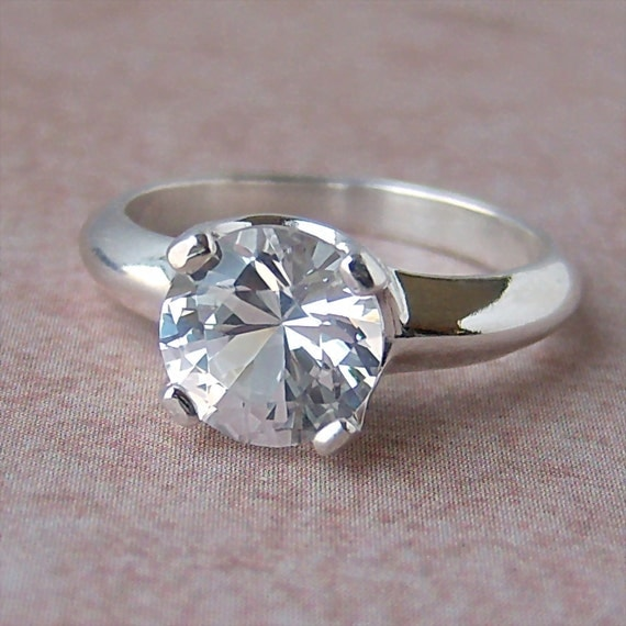 8mm Lab White Sapphire Argentium Sterling Silver Ring, Cavalier Creations