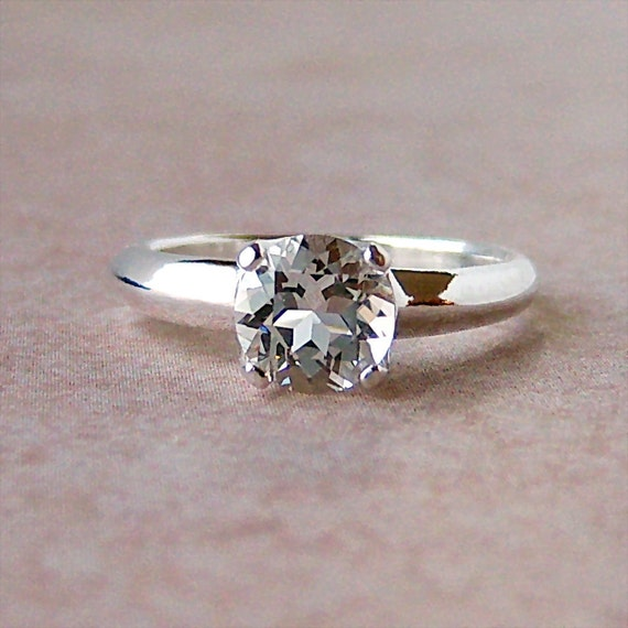 7mm White Topaz Argentium Sterling Silver Ring, Cavalier Creations