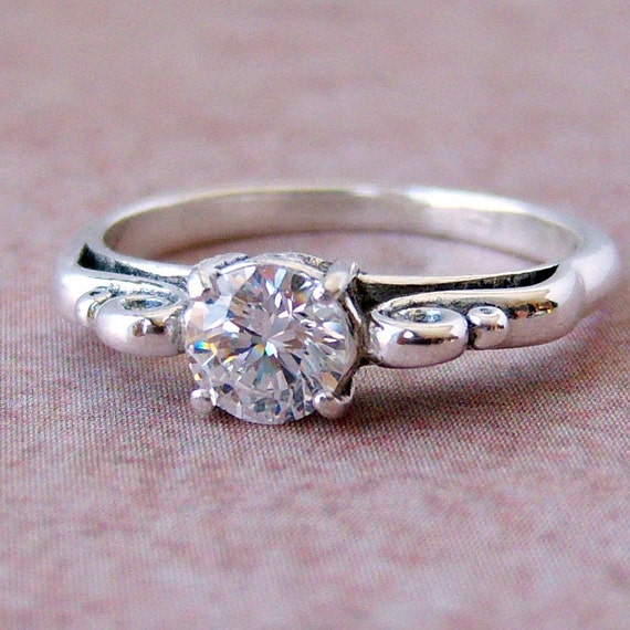 5mm Cubic Zirconia Sterling Silver Ring, Cavalier Creations