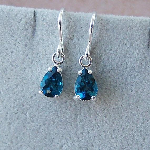 Genuine London Blue Topaz Sterling Silver Earrings, Cavalier Creations