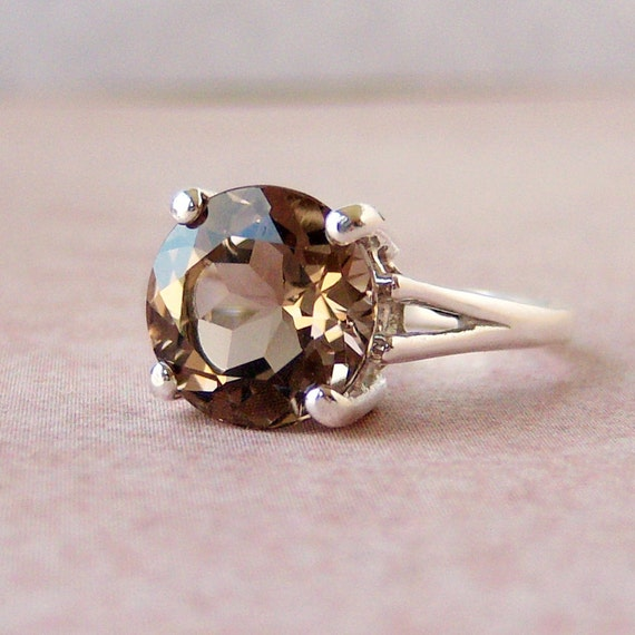 3.3ct Champagne Smoky Quartz Sterling Silver Ring, Cavalier Creations