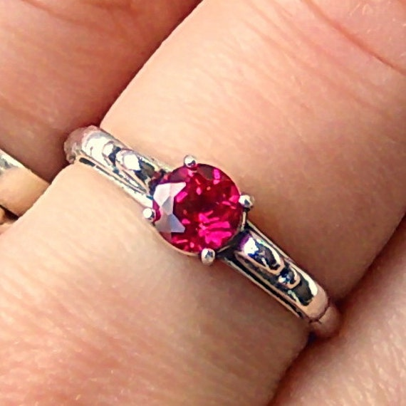 5mm Lab Created Ruby Sterling Silver Ring, Cavalier Creations