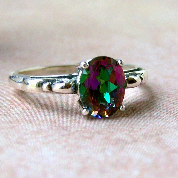 1.4ct Mystic Topaz Sterling Silver Ring, Cavalier Creations