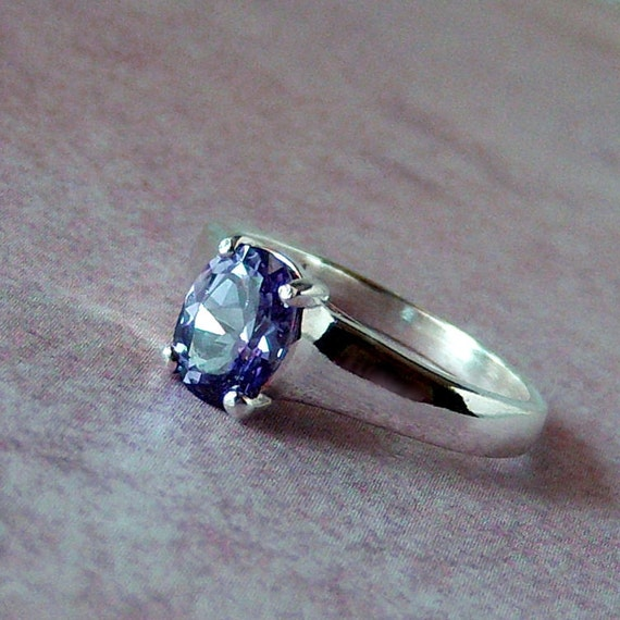 Color Change Lab Sapphire Sterling Silver Ring, Cavalier Creations