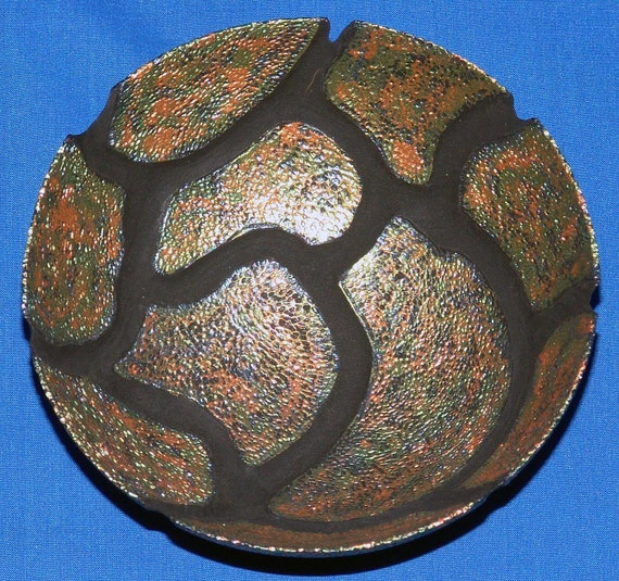Maple Bowl -Carapace- with Carving, Pyrography and Color 23-09