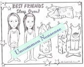 Ready to Color, Best Friends Paper Dolls, Adult or Child's Coloring Page