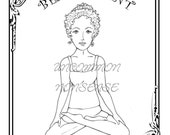 Yoga, Meditation Paper Doll, Adult or Child's Coloring Pages