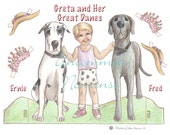 Greta, a Little Girl and Her Dogs Paper Doll